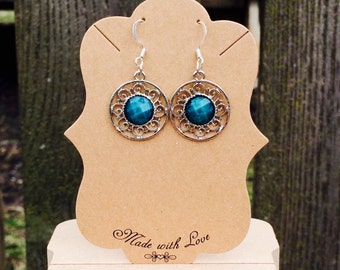 Gorgeous blue fuax stone medallion earrings