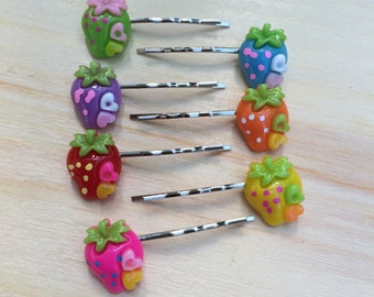 Adorable strawberry hair pins