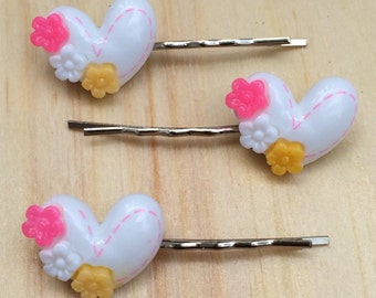 Adorable white heart bobby pins