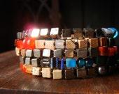Multi Strand Bracelet, Gemstone Bracelet, Pyrite, Mixed Gemstones, Charms, Gypsy Bracelet, Boho Jewelry