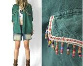 Romance in Durango Vintage Boyfriend Camp Shirt Tiny Bead Trim l xl