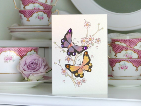 Tattoo Style Butterfly and Blossom Luxury Handmade Valentine Card