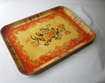 Vintage Large Alcohol Proof Floral Tray