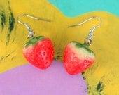 STRAWBERRY FIELDS EARRINGS...kitsch. retro. fruit. earrings. beads. jewelry. melon. kitschy charms. berries. cookout. strawberry earrings