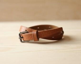 YC Black Metal Buckle Closure Leather Bracelet(Brown)