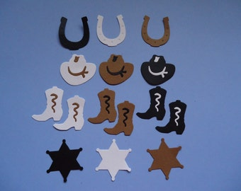 15 Cowboy Sherriff Embellishments for Scrapbooking and Paper Crafts Boots Hat Hats Badge Horseshoe