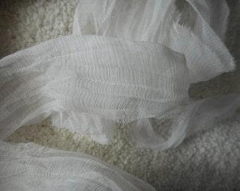10 Yards WHITE CLOUD CHIFFON Ribbon Sari Silk