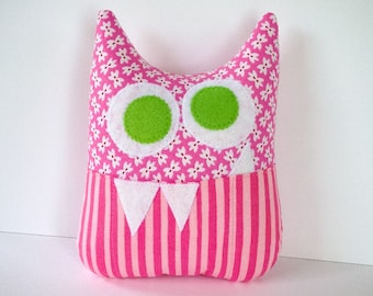Tooth Fairy Pillow - Personalized Monster - Pink Print and Stripes with Green Eyes and Appliqued Initial