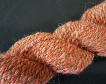 Handspun Alpaca/Corriedale/Angora Yarn - 50/40/10 - Medium Brown and Rust - Bulky Weight