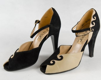 Vintage Fred Braun RAGE Suede Shoes Two Tone 40s Peep Toe Ankle Strap Pumps Size 5 - B3