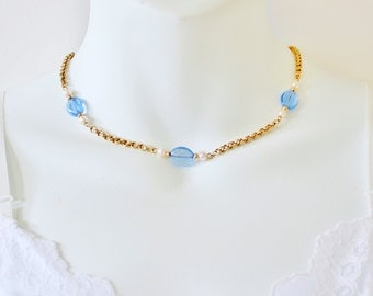 SALE 30 PERCENT OFF Vintage 1986 Signed Avon Venetian Touch Gold Tone Faux Pearl Light Sapphire Blue Glass Beaded Choker Chain Necklace