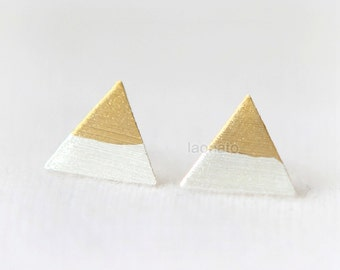 Gold and Silver triangle earrings / 925 sterling silver