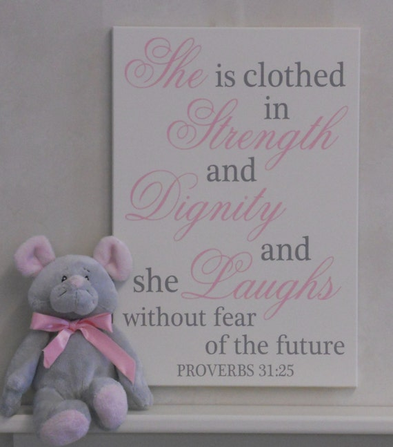 Future She Laughs Without Fear Of Her: Baby Girl Nursery Decor Sign Pink / Gray She Is By