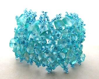 Seaglass Sea Glass Bracelet Aqua Turquoise Beaded Mermaid