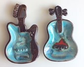RARE Vintage Guitar and Violoin Ceramic  Ashtray Set for Wall Hangings