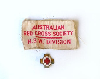 Vintage mid century Australian Red cross patch and enamel badge