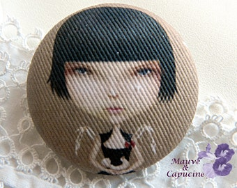 Fabric button, girl, 22 mm / 0.86 in