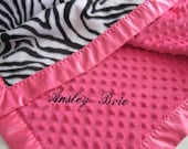 Hot Pink and Zebra Stripe Baby Blanket - Satin Binding - Perfect for Stroller or Car Seat