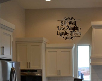 Eat well Live simply Laugh often BC730 custom vinyl lettering sticker wall decal mural home decor kitchen stencil quote