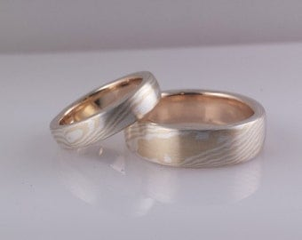 18k yellow gold and stering silver wood grain mokume gane wedding band set with matte finish