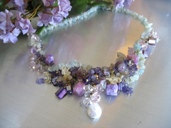 Statement Necklace, Hand Beaded  Necklace, Semi-Precious, VINTAGE Accents, Amethyst, Citron