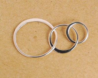 1 pc: big size triple circle sterling silver link, three circle link, pendant, 35X19mm, circle size 19X19mm, 13x13mm, 10X10mm, infinity link