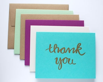 Thank You Cards - Gold Letterpress Thank You Card Set - Card Set of 5