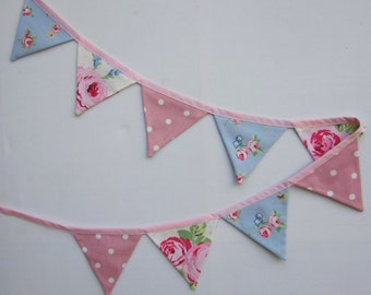 Mini Bunting, Baby Bunting, Pink and Pale Blue , Mini Pennant Banner, cottage chic bunting, Cottage Chic,  Fabric Bunting, Various lengths.