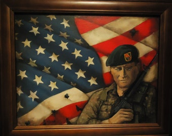 Gift for your man John Wayne Wall Art Portrait Painting:  American Special Forces Green Berets American Flag