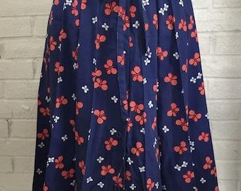 Vintage 70's Sanibel Sport Red, White & Blue Pleated Butterfly Skirt