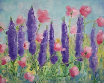 Original Oil Painting - Wildflowers - Lavender Floral - garden painting - field flowers - pink green purple - fine art home decor - wall art