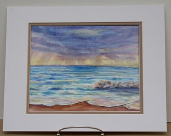 Stormy Beach Original Watercolor Painting - Lake Erie - Ocean Waves - fine art Home Decor - wall art beach nautical - rain