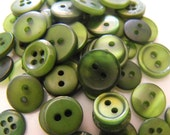 Forest Green Buttons, 50 Small Assorted Round Sewing Crafting Bulk Buttons