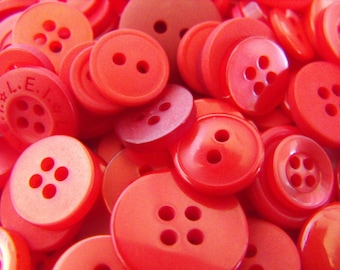 400 Fire Egine Red Buttons Round Medium Multi Sizes Crafting Sewing Bulk Buttons