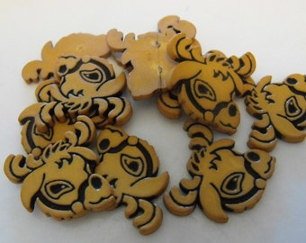 10 Brown Reindeer Head Flat Back Buttons Size 7/8""