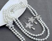 Bridal Pearl Rhinestone Necklace Bracelet Earring Crystal STARFISH White Or Ivory Beach Wedding Jewelry Set ST009LX