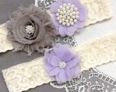Wedding Garter Belt Set Bridal Garter Set Ivory Lace Garter Lavender Purple Garter Set Rhinestone Crystal Pearl Garter GR186LX