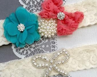 Wedding Garter Bridal Garter Coral Red Turquoise Lace Garter Set Rhinestone Garter Crystal Pearl Garter Beach Wedding GR159LX