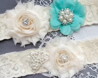 Wedding Garter Bridal Garter TEAL BLUE Garter Set Lace Garter Set Tiara Crown Rhinestone Crystal Pearl Garter Princess GR165LX