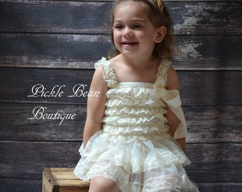 Lace Flower Girl Dress - Size 2T 3T - Ivory Baby Wedding Dress - Rustic Flower Girl Dress - Cowgirl Dress - Country Flower Girl Dresses