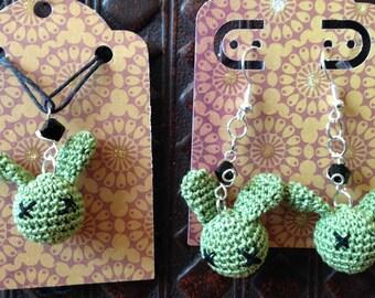 Zombunny earring & necklace set