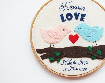 Personalized wedding gift, Embroidery hoop art, love birds, forever love, wedding decoration, customized keepsake, anniversary memento