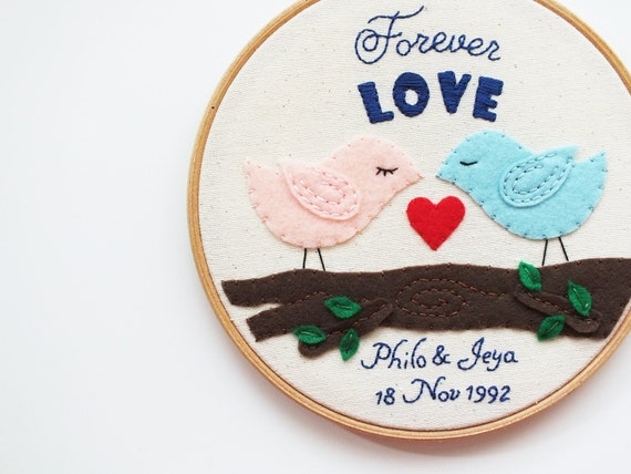 Personalized wedding gift embroidery hoop art love birds