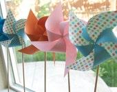 Adorable Pinwheels! Wedding Favors Decor Birthday Favors - 6 Large Chevron Paper Pinwheels