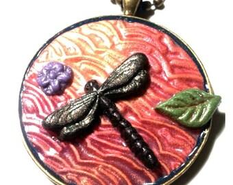 Fiery Sky OOAK 3D dragonfly pendant