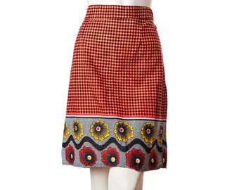 Vintage miniskirt with brightly colored abstract and floral pattern -- retro 60s 70s short skirt -- size medium