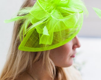 "Lime Green Fascinator - ""Penny"" Mesh Hat Fascinator with Mesh Ribbons and Lime Green Feathers"