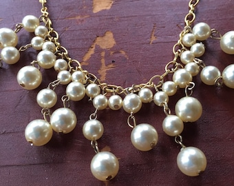 Cream Vintage Costume Pearl Reclaimed Necklace