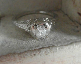 14 k white gold diamond - solitaire-promise- engagement ring size 6.5