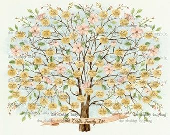 Watercolor Custom Personalized Ancestor Family Tree 20x24""